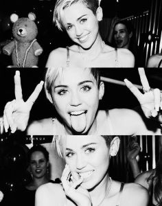 Three pic collage of Miley Cyrus