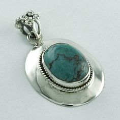 TURQUOISE STONE FASHION TRENDY DESIGN 925 SOLID STERLING SILVER PENDANT  #SilvexImagesIndiaPvtLtd #Pendant