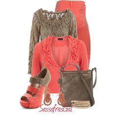 Coral & Taupe