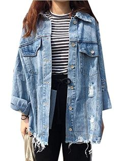 Kobeinc 2017 Women Loose Pockets Denim Jackets Casual Single Breasted Hole Jean Jacket Turn-Down Collar Long Sleeved Jaqueta - Tshirt and Jeans Store Coats For Women, Jackets For Women, Clothes For Women, Cute Jackets, Denim Jackets, Jean Jackets, Fall Outfits, Casual Outfits, Jean Jacket Outfits