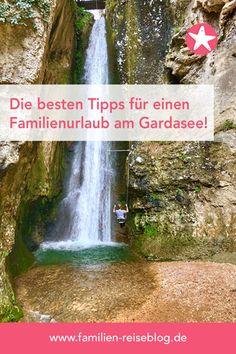 Tolle Ausflugsziele für einen Familienurlaub am Gardasee - wie z.B. der Wasserfallpark Molina mit dieser Wasserfall Schaukel. #gardasee #molina #bucketlist Holiday Travel, Handy Tips, Waterfall