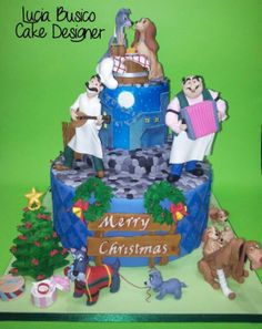 Lady And The Tramp Christmas Cake - by Lucia Busico @ CakesDecor.com - cake decorating website