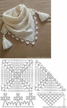 New Crochet Lace Scarf Ganchillo 63 Ideas Poncho Crochet, Col Crochet, Crochet Lace Collar, Crochet Cowl Free Pattern, Crochet Diagram, Crochet Beanie, Crochet Scarves, Crochet Motif, Free Crochet