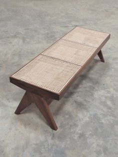 Teak & Cane Bench Pierre Jeanneret Style by PhantomHands on Etsy Cane Furniture, Bench Furniture, Handmade Furniture, Living Room Furniture, Modern Furniture, Furniture Design, Pierre Jeanneret, Chandigarh, Benches For Sale