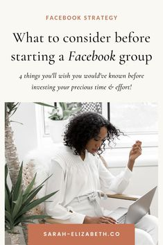 Starting a Facebook group for business or a Facebook group for bloggers can be a great piece to a strong Facebook marketing strategy, but are you ready? There are 4 things you need to know before starting so when you manage a Facebook group you're set up for success to grow your Facebook group. Get these Facebook social media marketing tips to make your Facebook social media marketing strategy more effective. | Sarah Elizabeth Facebook Strategist Facebook Users, Facebook Business, Facebook Marketing Strategy, Social Media Marketing, Sarah Elizabeth, How To Use Facebook, Starting Your Own Business, Pinterest Marketing, Business Tips