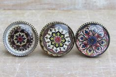 Set of Mosaic Brass and Glass Knobs by Horsfall & Wright - $22.03