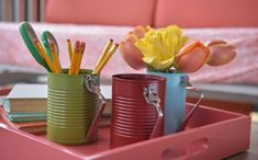 Diy tin can crafts projects 1 hgtv. home office decorating ideas. shabby chic home Tin Can Crafts, Crafts To Sell, Diy And Crafts, Crafts For Kids, Bedroom Walls, Diy Candle Holders, Craft Wedding, Healthy Meals For Two, Shabby Chic Homes
