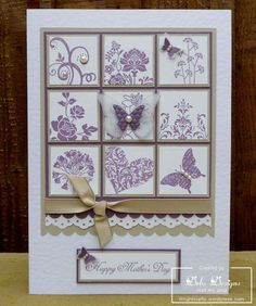 Card stock: smooth whisper white, perfect plum, crumb cake & white vellum; Stamps: various; Punches: 1-3/8 square, 1-1/4 square, eyelet border punch, scallop edge border punch, pocket silhouettes, elementary elegance, bliss, I (heart) hearts, simply soft & you are loved; Inks: perfect plum; Embosslits Die: beautiful wings; Accessories: pearls, crumb cake taffeta ribbon, snail adhesive, multipurpose liquid glue, button, dimensionals & stamp-a-ma-jig.
