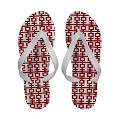 Simple Minimalist Red Double Happiness Chinese Wedding Custom Flip Flops Sandals Modern Stylish Custom Chinese Oriental Asian by fatfatin at Zazzle.com