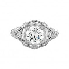 Saturn Jewels Baguettes Halo Diamond Engagement Ring