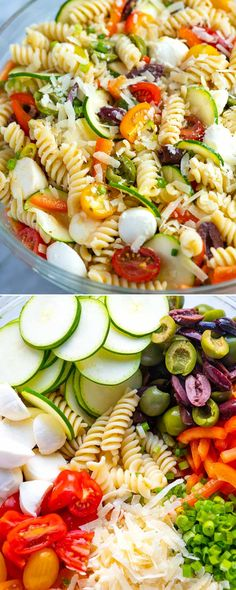 Quick and Easy Pasta Quick and Easy Pasta Salad Recipe // Fresh and easy pasta salad packed with crisp vegetables fresh mozzarella and tossed with a simple homemade dressing. Mayo Pasta Salad Recipes, Easy Pasta Salad Recipe, Pasta Dinner Recipes, Easy Pasta Recipes, Healthy Recipes, Healthy Drinks, Homemade Pasta Salad, Fresh Salad Recipes, Cooking Recipes