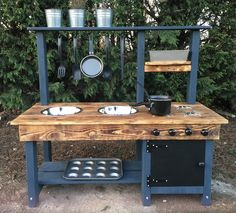 mud kitchen made from recycled wood, frame made from pressure treated timber by RUFDUK on Etsy