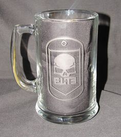 $10 Call of Duty Elite Dogtag Logo Hand Etched on Beer by GNLCrafters, $10.00