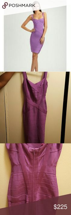 Herve Leger Bondage Dress This dress is a Herve Leger sample bought directly from their showroom. It's 100% authentic. Good condition, classic style, red paint stain inside dress but it doesn't show on dress, this reflects price. Size Small Herve Leger Dresses Mini