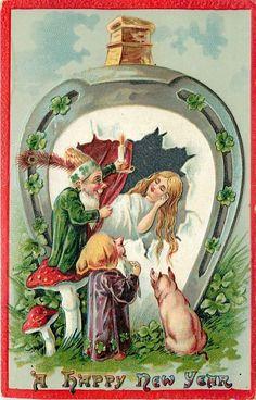 New Year Wizard Gnomes~Fantasy Girl Sleeps~Pig~Red Mushroom~Candle~Emboss~Saxony