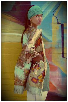Upcycled Silk Scarf Kimono Fringed Print Clash by darrylblack