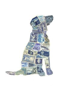 doggie stamp art. Now I know what to do with my stamp collection from when I was a kid