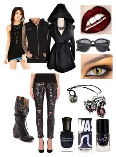"""Magnus Bane combat outfit"" by hmmong ❤ liked on Polyvore featuring Maje, Project Social T, Steven by Steve Madden, Uslu Airlines, Deborah Lippmann and Tripp"