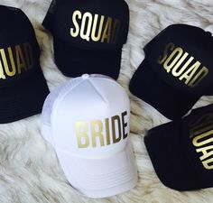 5 Bride Squad Bachelorette hats by Preparewear on Etsy