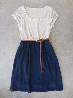 Lace & Navy Dress- Deloom online store! Such cute clothes!
