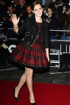 Emma Watson in Tartan dress
