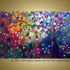Original Abstract Landscape Tree Whimsical Painting Summer Harmony by Luiza Vizoli