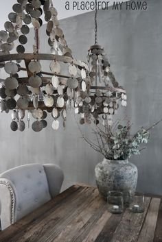A place for my home: Farewells Chandelier Lamp, Chandeliers, Tadelakt, Beautiful Home Designs, Aging Wood, Rustic Shabby Chic, Modern Rustic Interiors, Home Lighting, Decor Styles