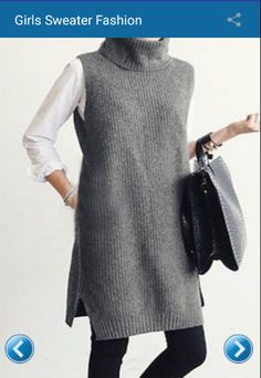 Gray sleeveless pullover with turtleneck , Gray Turtle Neck Sleeveless Jumper , ▲ C l o t h i n g & A c c e s s o r i e s Source by nataluda Long Sweaters For Women, Cute Sweaters, Girls Sweaters, Knitting Sweaters, Jumpers For Women, Cardigan Fashion, Knit Fashion, Mode Outfits, Fashion Outfits