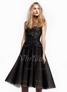 Evening Dresses - $182.12 - A-Line/Princess Scoop Neck Knee-Length Tulle Evening Dress With Beading (0175059747)