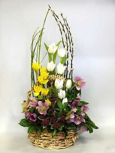 I want this enchanting fall flower arrangements Easter Flower Arrangements, Modern Floral Arrangements, Easter Flowers, Beautiful Flower Arrangements, Spring Flowers, Beautiful Flowers, Church Flowers, Container Plants, Ikebana