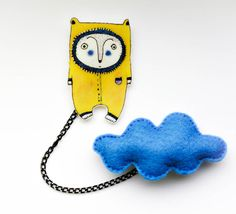 Handmade two part felt brooch  pin / personage pin / by KreiveMade, $16.50