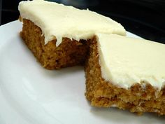 Pumpkin usually only shows up in recipes in the fall. Try these pumpkin bars with cream cheese frosting and you'll wonder why that is.