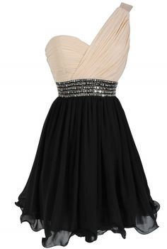 One Shoulder Embellished Chiffon Designer Dress in Cream/Black