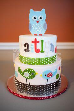 Owl / bird themed baby shower Cake.  Cakes iced in buttercream, marshmallow fondant owl and birds. :-)