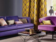 Zimmer + Rohde PARADISE |  Dessin Vorhang: PLEASURE| Dessin Kissen: COLIBRI | Möbel: ENJOY, BIG ROUND  #farbe #color #möbel #pillow #interior #raumausstattung #
