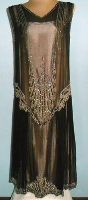 1920'S SHEER ART DECO BEADED DRESS. Front