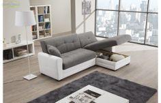 Prezzo: € 499  Divano angolare in ecopelle bianco e tessuto grigio, trasformabile in letto e completo di contenitore  Dimensioni: L.230/136 P.78 H.82