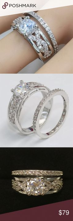 Diamonique Diamond 💎 S925 Silver Ring 💍 2.0ct total weight . Diamonique diamond 💎. S925 Sterling silver stamped band. Size 8. 2 piece wedding set . Encrusted band . Comes in beautiful black velvet gift 🎁 box.  Brand new. Wrapped and shipped with care. Fire & Ice Jewelry Rings