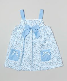 Look what I found on #zulily! Blue Bow Tie Babydoll Dress - Infant & Toddler #zulilyfinds