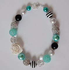 Turquoise White Silver and Black Chunky Bubblegum Necklace by NotesbySherryLLC