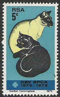 South Africa postage stamp of cats from 1972 Vintage Stamps, Vintage Cat, Art Postal, Postage Stamp Art, Stamp Printing, West Africa, South Africa, Cat Cards, Dog Cat