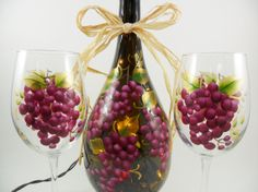 RESERVED FOR DAUDPAL Hand Painted Lighted Wine Bottle Light Wine Glasses Grapes Additional Shipping Cost