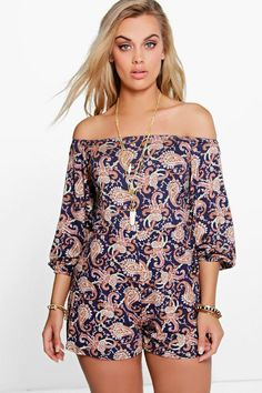 Plus Paisley Print Off The Shoulder Playsuit  bohoaccessories  boho   bohostyle  bohochic   0d480b7eca
