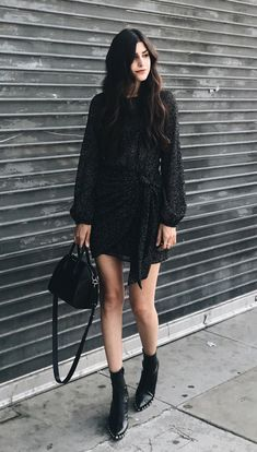 #winter #outfits black poet-sleeved mini dress