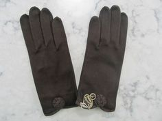"VINTAGE 1950's NOS UNUSED Chocolate Brown Wrist Length Gloves---8.5"" long---Size 7---Glove Auction #1131 by PrimaMona on Etsy"