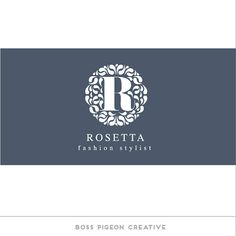 Pre Designed Graphic Design Elegant Monogram Logo Rosetta on Etsy, $35.83