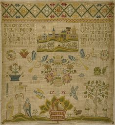 Sampler made in Denmark 1798 linen embroidered in silk. cross, tent and satin stitch.