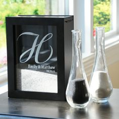 Personalized Unity Sand Ceremony Shadow Box Set. Ooh this is just too cute. Im getting this for my sand ceremony.