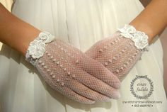 Bridal Gloveshandmade  Wedding Gloves adorned by bridaljewelries, $35.00