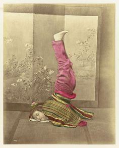 geisha headstand. 1800s